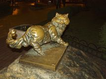 Sculpture of a cat. Kiev. Ukraine. royalty free stock photography