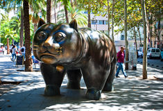 Sculpture of cat on Rambla del Raval, Barcelona Stock Image