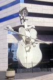 Sculpture of Cello Player in Houston TX Royalty Free Stock Images