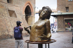 Sculpture in a center of Bologna Stock Image