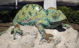 Sculpture chameleon. Of colored tiles in the Turkish town Bodrum Stock Images