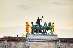 Sculpture of the chariot on top of the Arc de Triomphe du Carrou. Sel in Paris Royalty Free Stock Photos
