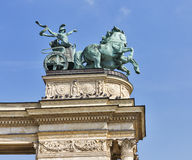 Sculpture the chariot of War at Heroes Square. Budapest. Royalty Free Stock Photos