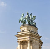 Sculpture the chariot of War at Heroes Square. Budapest. Stock Image