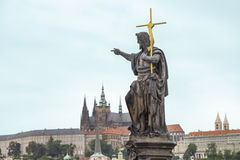 Sculpture in the Charles Bridge, Prague. Stock Photo