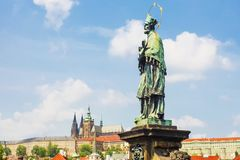 Sculpture on the Charles Bridge in Prague. Czech Republic royalty free stock images