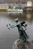 The sculpture on the Chekhov bridge on the Vltava river. Royalty Free Stock Photo