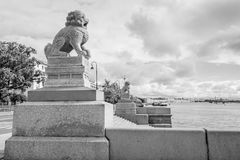 Sculpture Chi-cza in St. Petersburg. Monument of the Chinese lions on the waterfront in St. Petersburg. Famous landmark of St. Petersburg at the Petrovskaya Royalty Free Stock Images