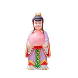 Sculpture china doll holging a peach on white Stock Photos