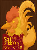 Sculpture of the Chinese Zodiac`s Rooster for New Year, Vector Illustration Stock Photos