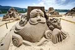 Sculpture chinoise en sable d'un dieu d'argent Image libre de droits