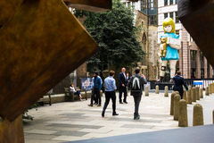 Sculpture in the City Damien Hirst 2015 London art installation titled Charity. August 18th 2015 - Damien Hirst 22 foot bronze art installation titled Charity on stock photo