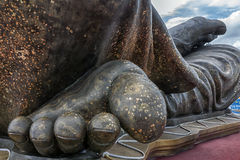 Sculpture. Close up big Foot monk  sculpture Stock Photos