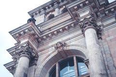 Sculpture and columns on historic building facade - Reichstag bu. Ilding exterior  Berlin Stock Photos