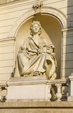 Sculpture Comedy, on the facade of the building Opera and Ballet Theatre in Lviv Stock Image