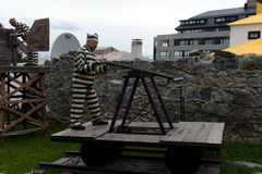Sculpture of convicts in Ushuaia.Ushuaia is the southernmost city in the world. Royalty Free Stock Photos