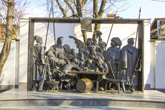 Sculpture of cossacs  in Krasnodar Royalty Free Stock Photography