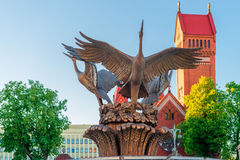 Sculpture of cranes fountain in Independence Square Stock Photos
