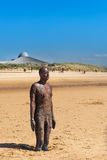 Sculpture on Crosby Beach, the Another Place by Anthony Gormley Stock Photos