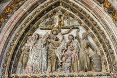 Sculpture of the Crucifixion in the Cathedral of Burgos Royalty Free Stock Photos
