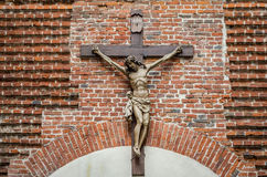 Sculpture from the crucifixion of Jesus Christ on the brick Armenian church in Lviv building.  Stock Photography