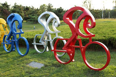 Sculpture ------ cycling. Bicycle, also known as bike or bicycle, usually two small land vehicles cycling Stock Photography