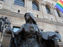 Sculpture d'art, bibliothèque publique de Boston, place de Copley, Boston, le Massachusetts, Etats-Unis Images libres de droits