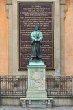 Sculpture d'Olaus Pétri, un réformateur protestant suédois, à Stockholm photos libres de droits