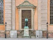 Sculpture d'Olaus Pétri, un réformateur protestant suédois, à Stockholm image libre de droits
