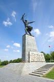 Sculpture d'un soldat sur la taille de Peremilovskaya, Yakhroma, Russie Images libres de droits