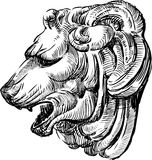 Sculpture d'une tête de lions Images libres de droits