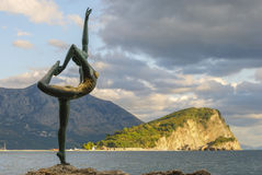 Sculpture of a dancing girl. The Old Town of Budva Stock Image