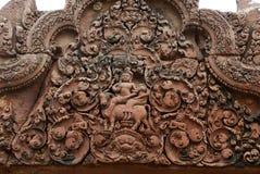 Sculpture dans le wat d'angkor Photos stock