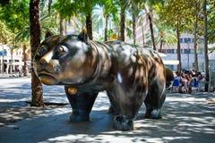 Sculpture de chat sur Rambla del Raval, Barcelone Photographie stock