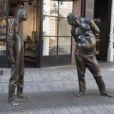 Sculpture de Dusseldorf les hommes contanding Photos libres de droits