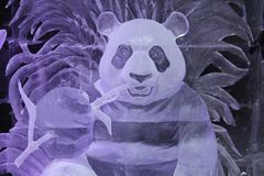 Sculpture de Panda Bear fait de glace photo stock