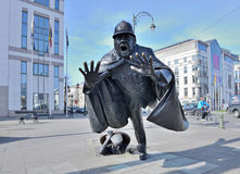 Sculpture De Vaartkapoen created in 1985 illustrating cartoon serial about Quick and Flupke. BRUSSELS, BELGIUM-MARCH 08, 2014: Sculpture De Vaartkapoen created Stock Image
