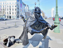 Sculpture De Vaartkapoen created in 1985 illustrating cartoon serial about Quick and Flupke. BRUSSELS, BELGIUM-MARCH 08, 2014: Sculpture De Vaartkapoen created Royalty Free Stock Photo