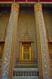 Sculpture decorated Windows and pillars of Thai Temple Royalty Free Stock Photo