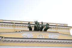 Sculpture Decoration. Of the historical theatre in the streets of St. Petersburg Royalty Free Stock Photos