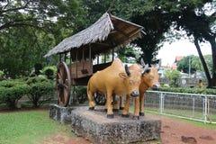 Sculpture des boeufs d'un chariot Photos stock