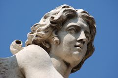 Sculpture detail. Angel statue on bridge in front at Castel Sant'Angelo in Rome, Italy royalty free stock photography