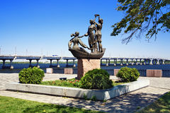 Sculpture in Dnipropetrovsk, Ukraine. Youth of the Dnieper - sculpture on the embankment of Dnieper river in Dnipropetrovsk, Ukraine stock photos