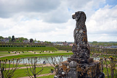Sculpture of a dog in Villandry Castle's garden Stock Photo