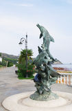 Sculpture of dolphins, fountain in Aivazovsky park, Partenit, Crimea Stock Photo