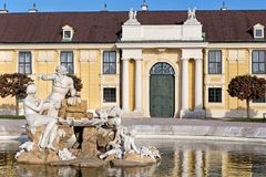 Sculpture Donau, Inn, and Enns in Schonbrunn palace by Franz Zauner in Vienna Royalty Free Stock Image