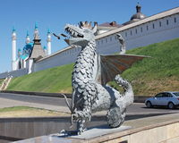 Sculpture of dragon on a background Kremlin Stock Photography