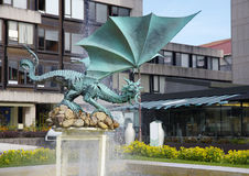 The sculpture of dragon in Braga city, Portugal Stock Images