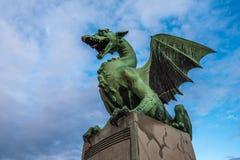 Sculpture of dragon on Dragon bridge in Ljubljana, Slovenia Stock Photography