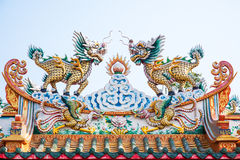 Sculpture of Dragon-headed unicorn Stock Image